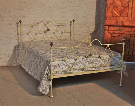 low height bed early victorian double aged cream iron low height bed