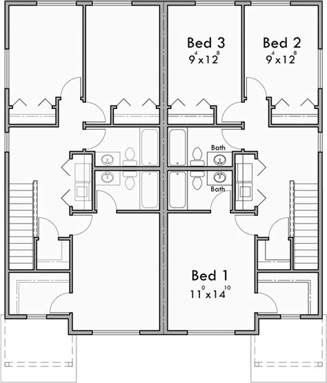 duplex house plan row house plan open floor plan d 605