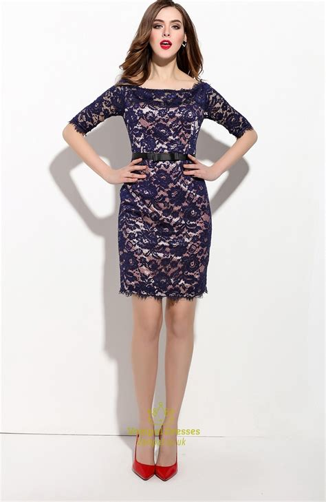 Lace Sleeve Cocktail Dress navy blue lace overlay cocktail dress with half sleeves