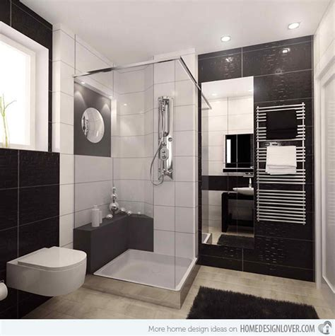 20 Sleek Ideas For Modern Black And White Bathrooms Black And White Modern Bathroom