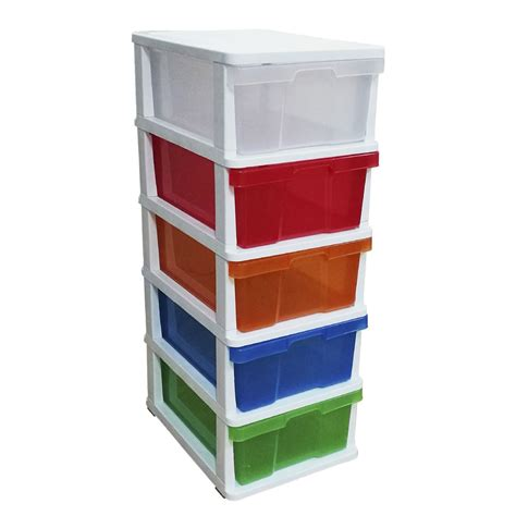 plastic drawers on wheels australia j burrows coloured 5 drawer cabinet officeworks