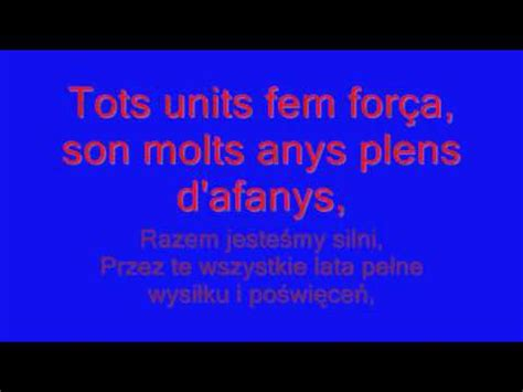 barcelona anthem lyrics hymn fc barcelony cant del bar 231 a with lyrics napisy pl