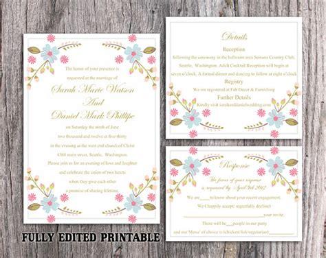 wedding invitation pdf file printable wedding invitation suite printable boho