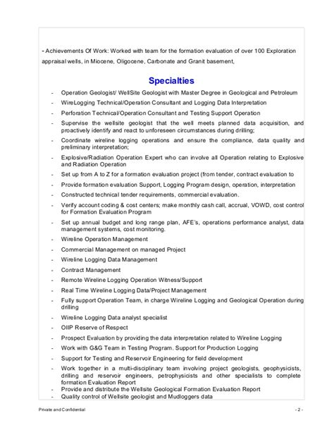 Operations Geologist by Cv Truong Thanh Operation Geologist Consultant 2015