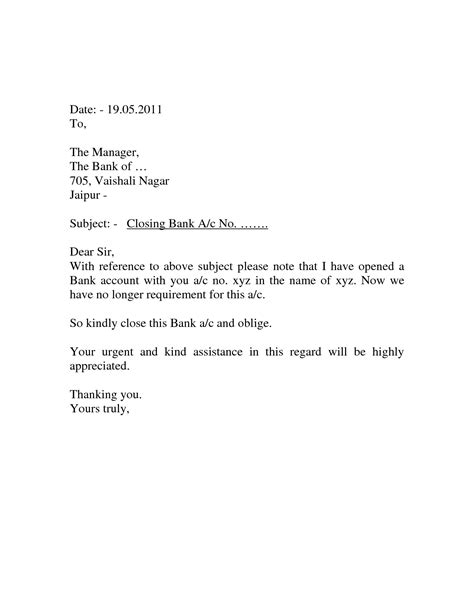 account closing letter format in word bank account closing letter format in word best