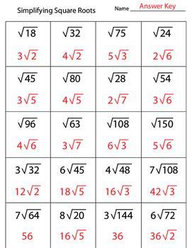 Simplifying Square Roots Worksheet Pdf
