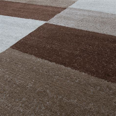 teppich läufer nach maß designer teppich braun meliert kurzflor modern kariert