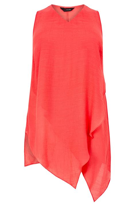 Nella 3 Rami Woven All Size Fit L Celana Panjang Wanita Muslim coral pink sleeveless layered top with asymmetric front