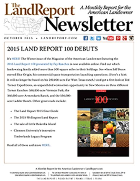Newsletter Report Land Report October 2015 Newsletter The Land Report
