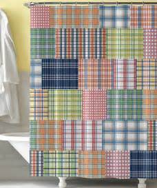 blue preppy plaid shower curtain