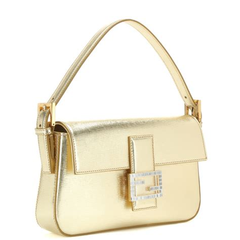 Fendi Sweety Sweet Baguette by Fendi Baguette Metallic Leather Shoulder Bag In Metallic