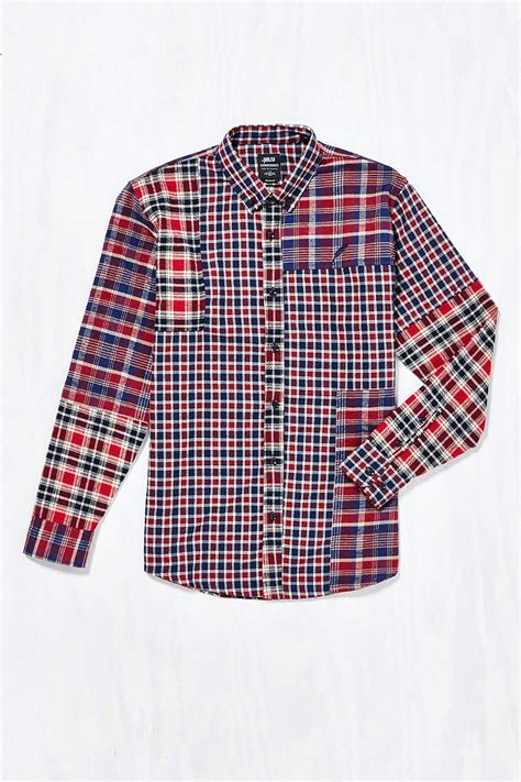 Plaid Patchwork - lyst timberland vernal patchwork plaid button shirt