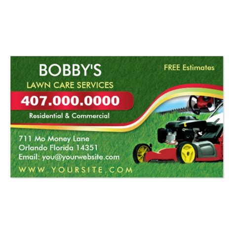 lawn care business cards templates free landscaping lawn care mower business card template zazzle