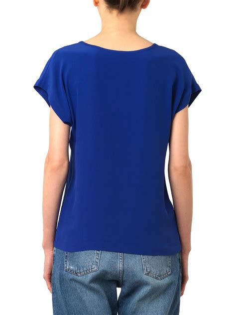 Branded Esprit Cut Paisley T Shirt Bright Blue lyst freda scoop neck silk t shirt in blue
