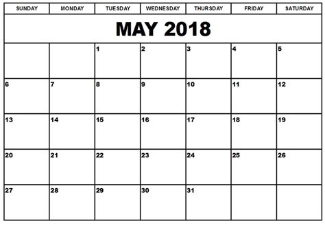 Blank Calendar Template Pdf by Free May 2018 Calendar Printable Blank Templates Word