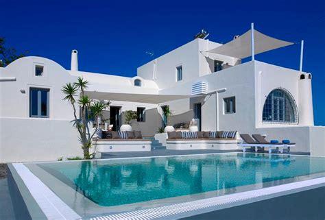 Patio Kitchen Islands villa with view in santorini island greece luxury homes