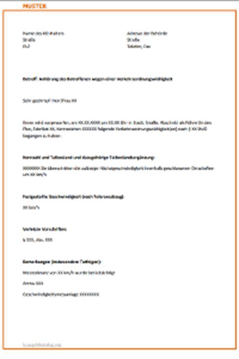 Musterbrief Widerspruch Ordnungswidrigkeit Anh 246 Rungsbogen Erhalten Ausf 252 Llen Oder Nicht
