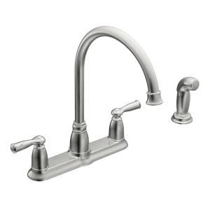 moen ca87015 high arc kitchen faucet with side spray from moen banbury high arc 2 handle standard kitchen faucet