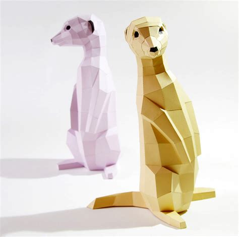 Origami Meerkat - diy geometric paper animal sculptures by paperwolf colossal