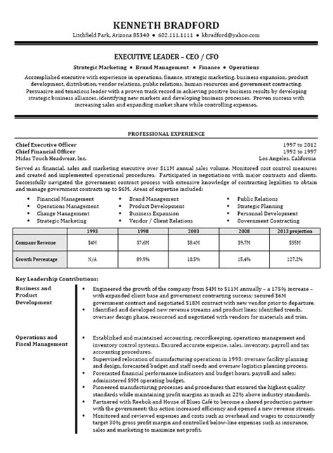 Ceo Resume by Ceo Cfo Executive Resume Exle