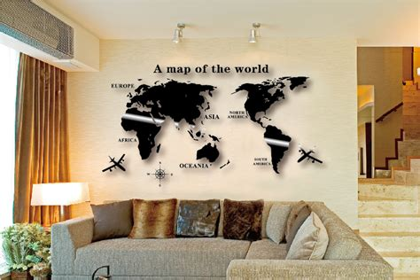 www wall decor and home accents wall decal world map wall sticker globe earth wall decor for kid s room home diy mirror 3d
