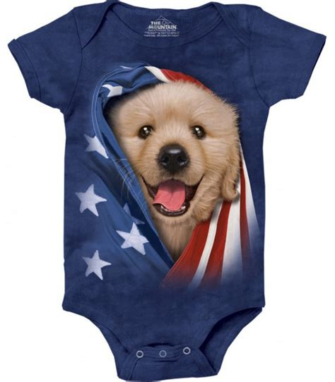 golden retriever iq babygro golden retriever patriotique unisexe the mountain