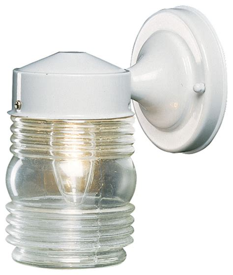 Jelly Jar Wall Sconce Hardware House Hardware House Outdoor Jelly Jar Wall Fixture White View In Your Room Houzz