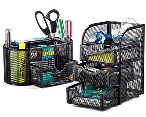 Setelan Sluppy Set 2pc halter steel mesh 2 desk organizer set oval desk supply caddy and 3 drawer mini hutch