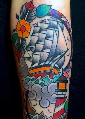 veliero old school tattoo veliero faro lighthouse traditional tattoos tattoo