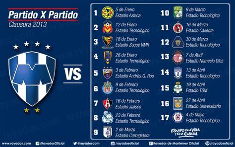 Calendario De Partidos Calendario De Partidos Rayados En El Clausura 2013