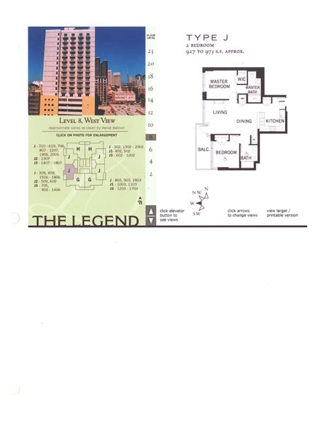 floor plan legend the legend floor plan level 8 west view type j
