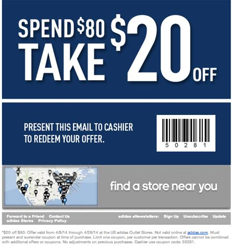 sports shoes discount code 2014 adidas outlet 20 80 printable coupon