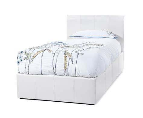 3ft ottoman bed serene tuscany 3ft single white faux leather ottoman bed