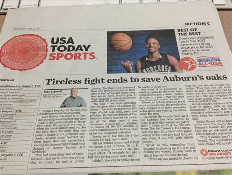 usa today sports section usa today sports section pays tribute to toomer s oaks by