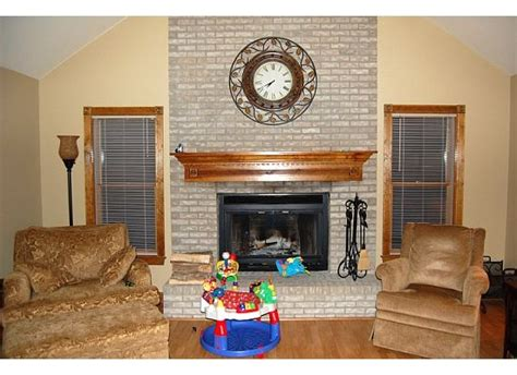 staining brick fireplace living room