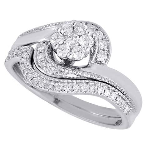 wedding bridal set 14k white gold swirl flower engagement ring 0 37 ct ebay