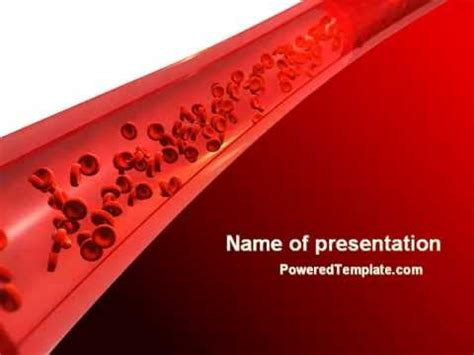 Red Blood Cells In A Blood Vessels Powerpoint Template By Blood Ppt Templates Free