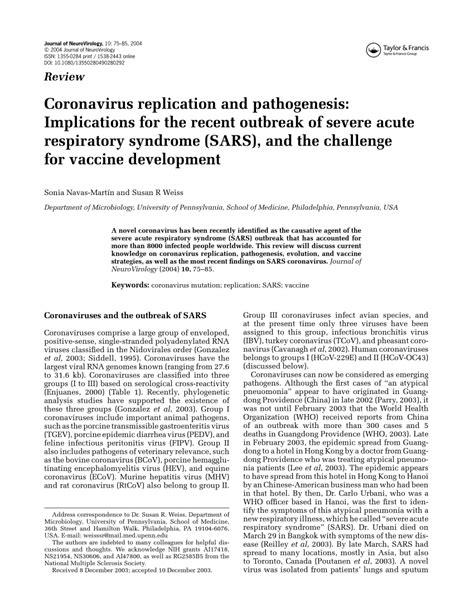 (PDF) Coronavirus replication and pathogenesis
