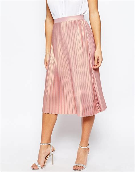 asos pleated midi skirt with metallic foil in pink lyst