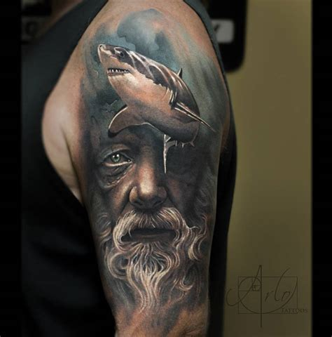 poseidon tattoo design poseidon shark sleeve best design ideas