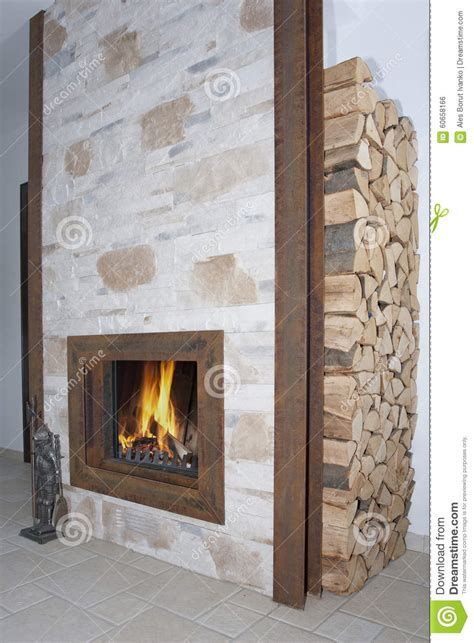 fireplace in metal frame stock photo image 60658166