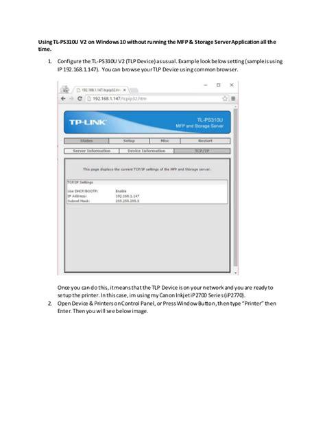 install windows 10 link installing tp link ps310u v2 on windows 10