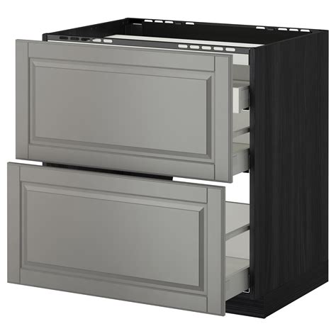 ikea kitchen bodbyn base cabinet with 3 drawers 1 metod maximera base cab f hob 2 fronts 3 drawers black