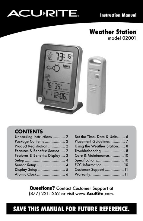 acurite  weather station user manual  pages