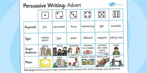 persuasive writing advert dice activity writing aid