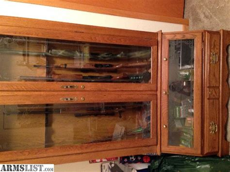 Solid Oak Gun Cabinets For Sale by Armslist For Sale 10 Gun Cabinet Solid Oak