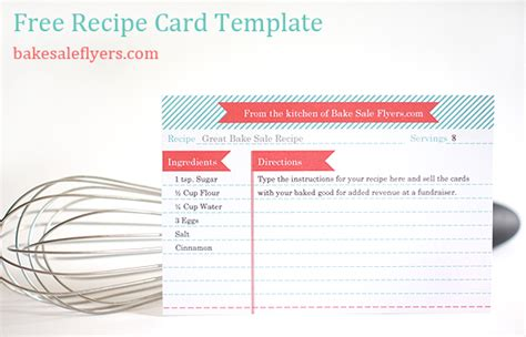 microsoft word 6x4 recipe card template bake sale flyers free flyer designs