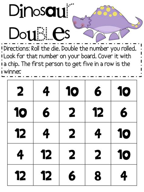 printable addition dice games dinosaur dice doubles board game educational