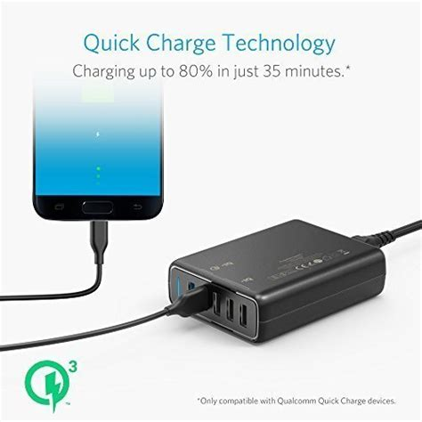 Anker Powerport Speed 5 Wall Charger Powerline Micro Usb 3ft Black anker charge 3 0 63w 5 port usb wall charger powerport import it all