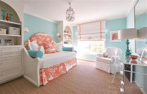 turquoise and orange bedroom turquoise girls bedroom with orange toile daybed